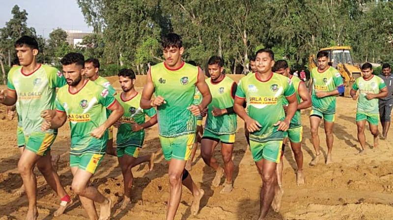 Patna Pirates players at a training session ahead of the Pro Kabaddi League Season VI.