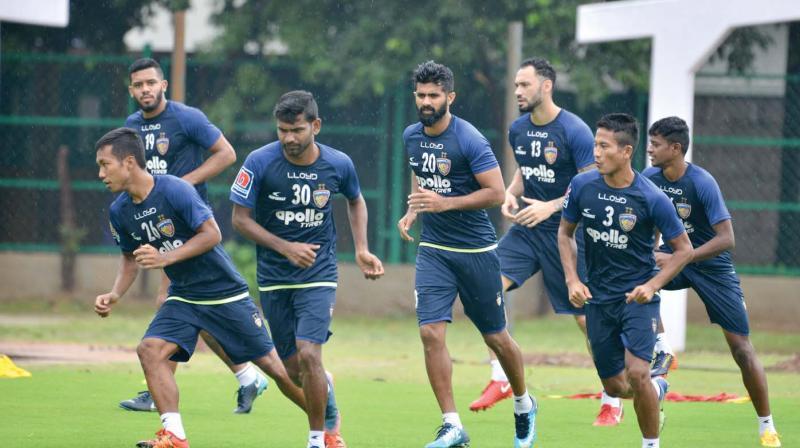 Chennaiyin FC players at a training session ahead of their ISL match against FC Goa.