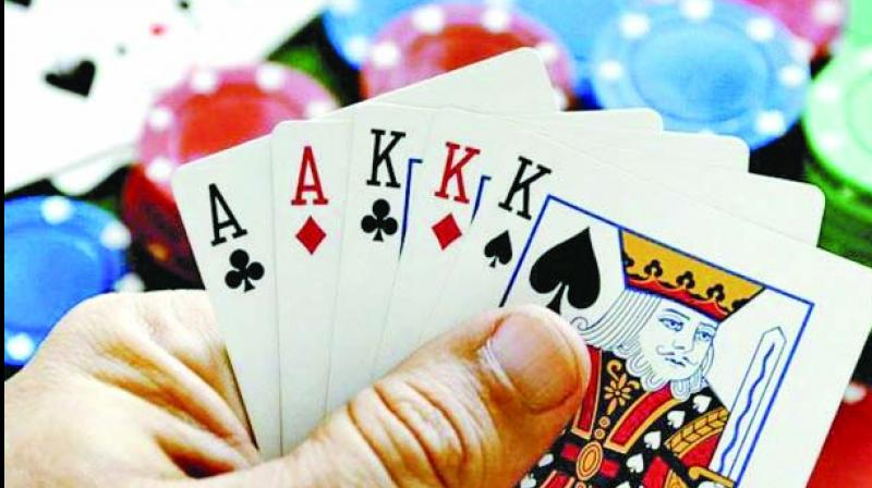 Nine gamblers landed behind bars after the Anti-Human Trafficking Unit (AHTU) swooped down on a second floor apartment in New Comet Tower in Mira Road late on Tuesday evening.