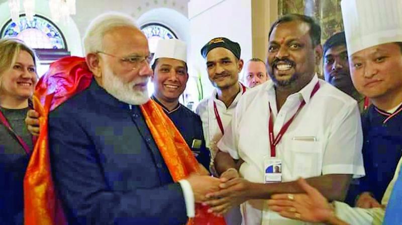 A. Vijaya Subramanian with PM Narendra Modi.