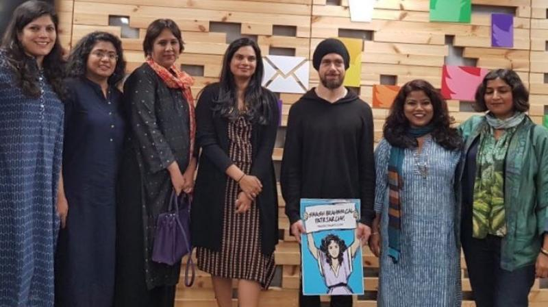 Dorsey during his visit, interacted with women journalists, activists and writers to discuss Twitter experience in India. (Twitter Screengrab)