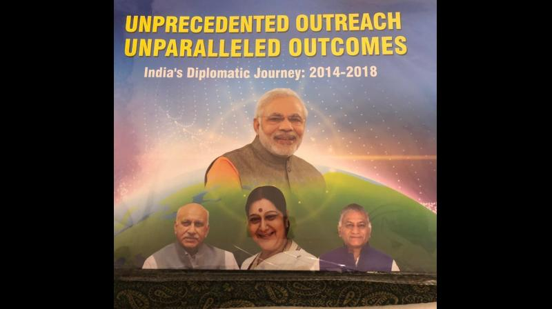 In the booklet, Akbar also features in the inside pages as part of 'Team MEA' alongside External Affairs Minister Sushma Swaraj, MoS General VK Singh and others. (Photo: Twitter | @MYaskhi)