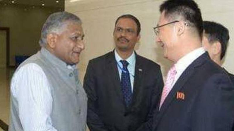 The MEA said V K Singh reiterated India's support to the joint peace initiative by leadership of both North Korea and South Korea. (Photo: KCNA)