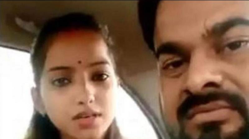 Sakshi is the daughter of Rajesh Misra, a legislator from Bareilly. She married Ajitesh Kumar, a 29-year-old businessman, last Thursday at a temple in Prayagraj. (Photo: Screengrab)