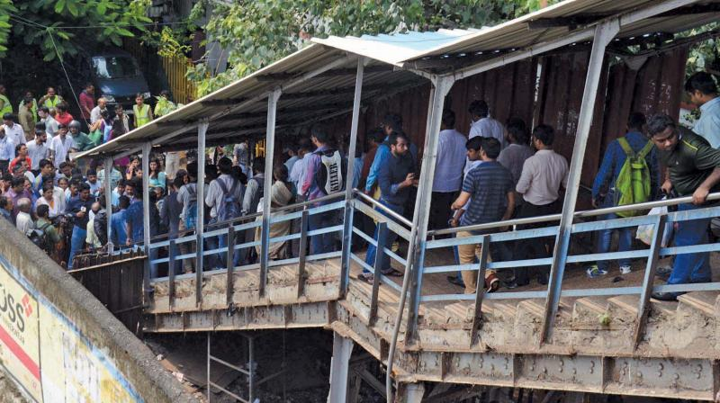 Two women were injured after a stampede-like situation broke out outside Lower Parel railway station around 7 pm on Monday.