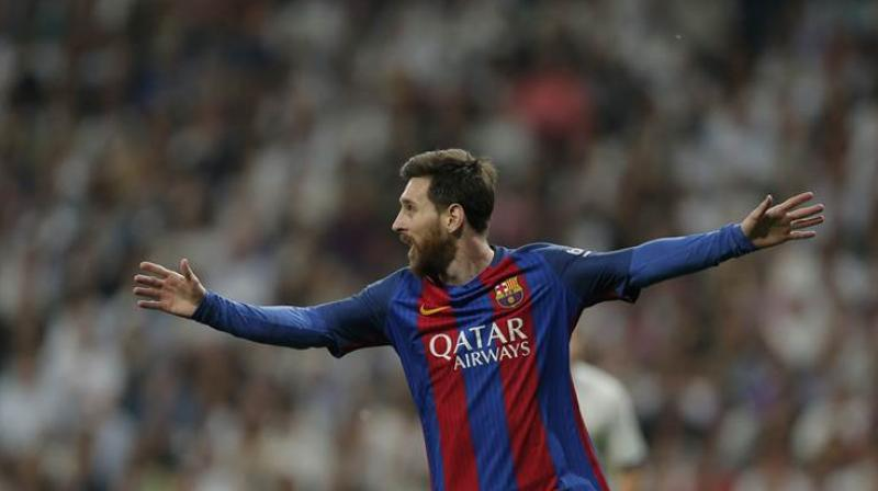 The Argentine put Barca further at ease with another strike at the end of the first half, finishing off a backheeled pass from Luis Suarez as the two South American forwards carved their way through Betis's defence. (Photo: AP)