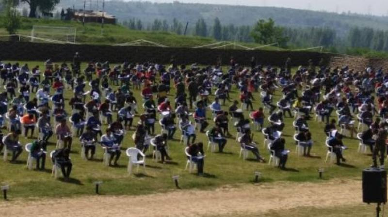 799/815 selected candidates appeared in Common Entrance Exam for Indian Army Junior Commissioned Officers and other ranks at Srinagar and Pattan. (Photo: ANI   Twitter)