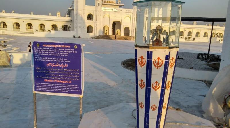 The bomb has been placed within a glass case placed atop on a small pillar decorated with the 'khanda', a symbol representing the Sikh faith.  (Photo: Twitter)