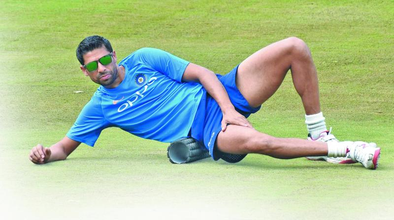 Ashish Nehra at a practice session ahead of the third T20 against Australia at Rajiv Gandhi International Cricket Stadium in Hyderabad. (Photo: P. Surendra)