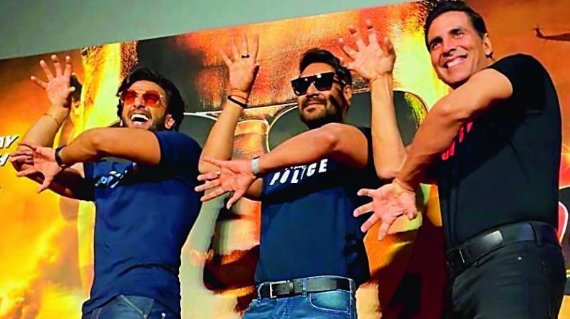 (From Left) Actor Ranveer Singh, Ajay Devgn and Akshay Kumar