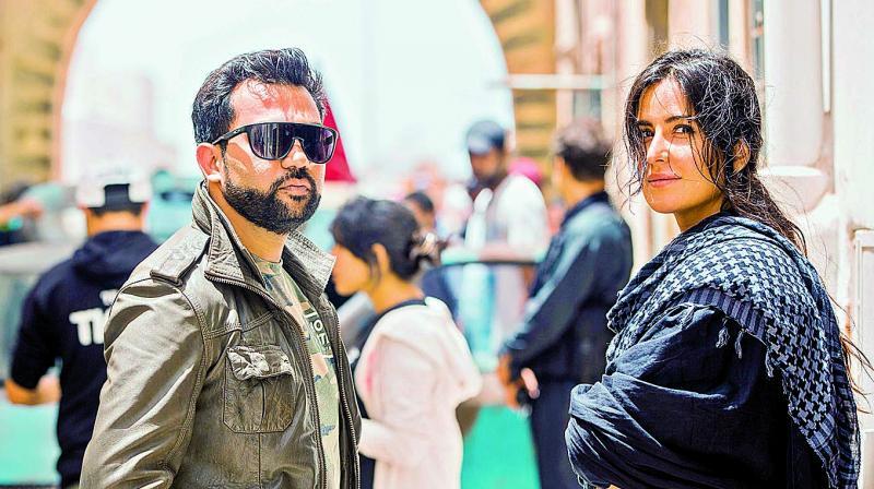 Ali Abbas Zafar, director of Tiger Zinda Hai, with Katrina Kaif, on the sets of the film.