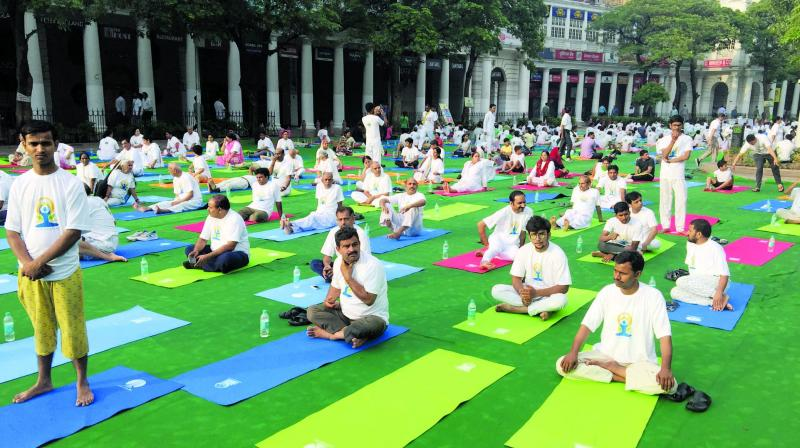 A yoga morning organised by The Yoga Institute in session