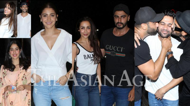 On Thursday, Arjun Kapoor and the makers of India's Most Wanted arranged special screening for Bollywood celebrities. Stars like Anushka Sharma, Malaika Arora, Ranveer Singh, Janhvi Kapoor, Ali Abbas Zafar, Kartik Aaryan and others were snapped at the screening of Arjun Kapoor starrer. (Photos: Viral Bhayani)