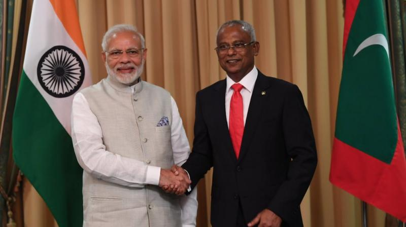 Prime Minister Modi attended the swearing-in ceremony of Solih, who surprisingly defeated strongman Abdulla Yameen in September. (Photo: Twitter | @MEAIndia)