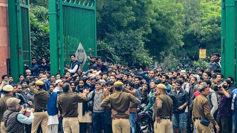 The students were protesting against the government's Citizenship Amendment Act, 2019, which gives citizenship to migrants, of six non-Muslim minority communities from three countries, Pakistan, Bangladesh, and Afghanistan. (Photo: PTI)