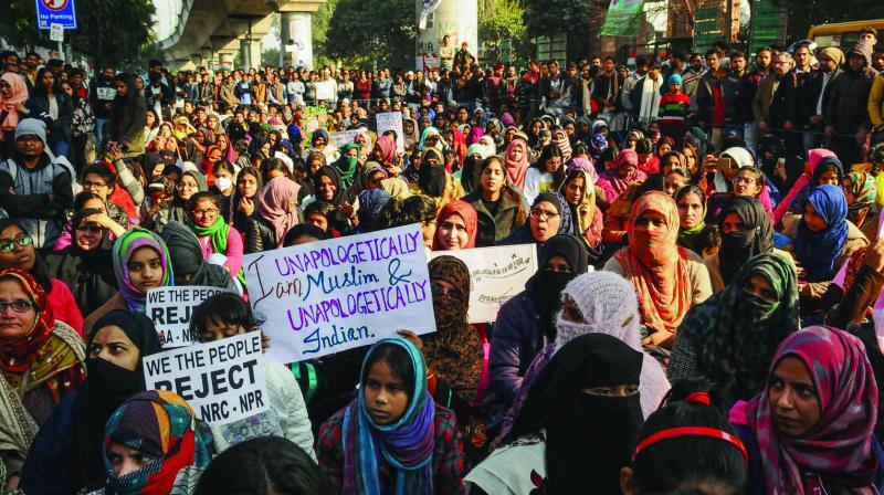 Protestors during a rally against CAA. (Photo: PTI)