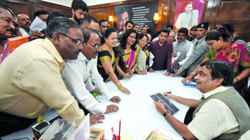 Nitin Gadkari at his Nagpur MP office on Sunday. (Photo: AA)