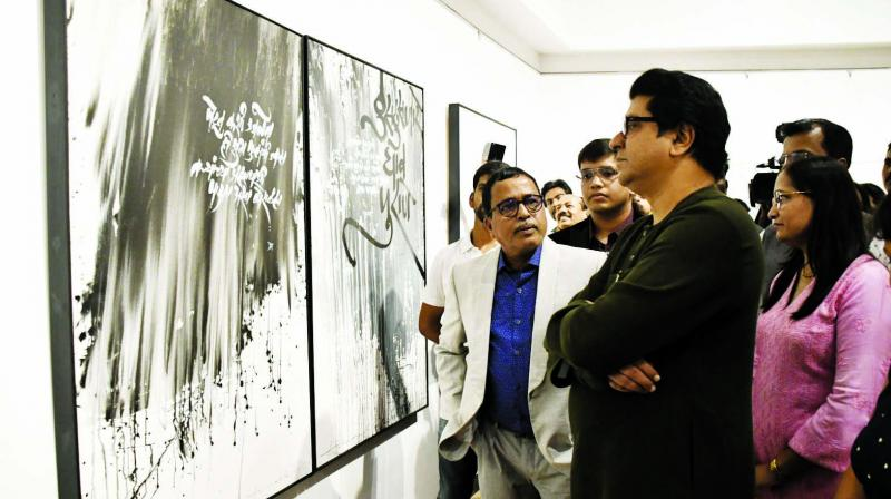 Raj Thackeray at a calligraphy exhibition. (Photo: Asian Age)