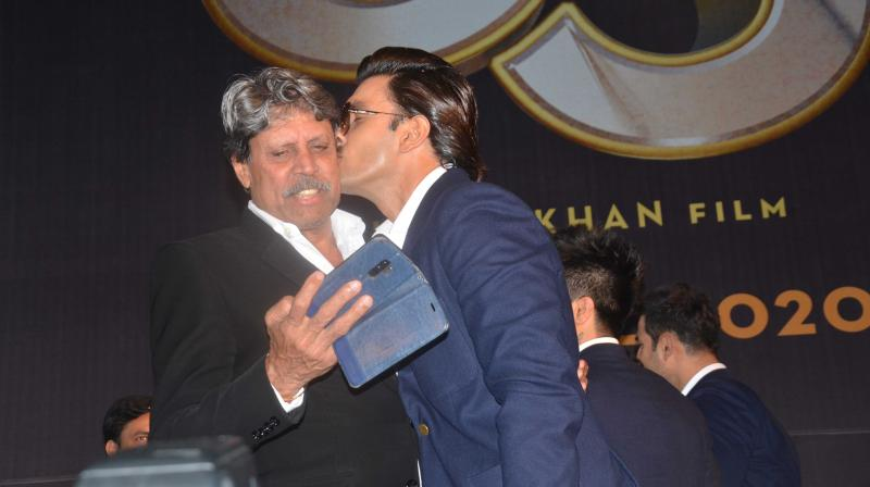 Ranveer Singh and Kapil Dev at the 83 first look launch in Chennai.