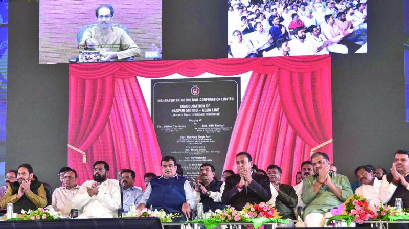 Chief minister Uddhav Thackeray inaugurates the 11km Nagpur Metro line between Lokmanya Nagar and Sitabuldi Interchange via video link on Tuesday. Union minister Nitin Gadkari, former CM Devendra Fadnavis state ministers Anil Deshmukh and Eknath Shinde attended the event in in Nagpur. (Photo: Asian Age)