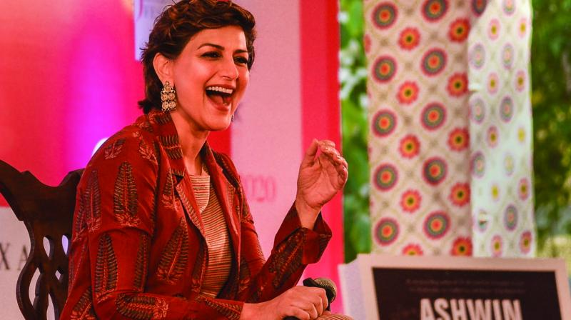 Bollywood actor Sonali Bendre during the Jaipur Literature Festival 2020 at Diggi Palace on Thursday. (Photo: PTI)