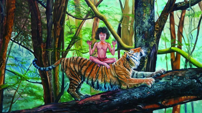A solo art exhibition 'Growing wild' by Rajesh Ram recently took place in the capital at Palette Art Gallery. Rajesh exhibits his recent body of work comprised of life-size bronze sculptures and oil paintings. (All cause of king by Rajesh Ram)