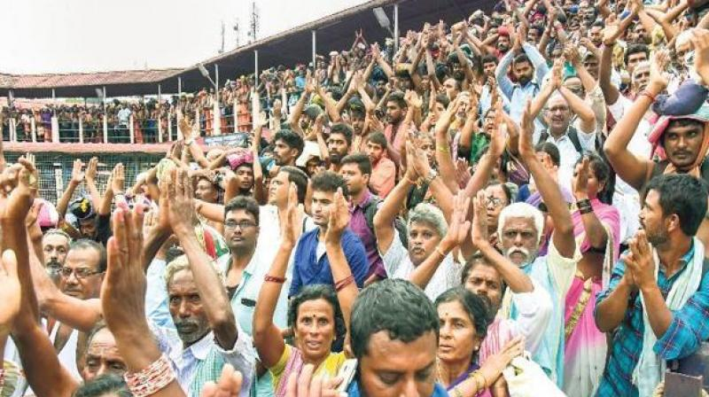 The temple witnessed high drama recently with around a dozen women in the 10-50 age group being prevented by protesting devotees from entering it after the doors were opened for all women following the apex court verdict. (Photo: File)