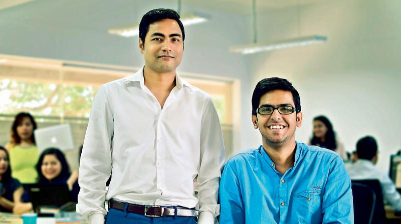 The two co-founders Kumar Abhishek (left) and Vivek Kumar Singh in the office