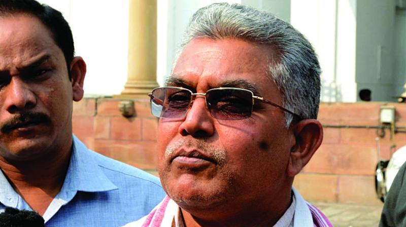 State BJP president Dilip Ghosh meets the press at Assembly. (Photo: Abhijit Mukherjee)