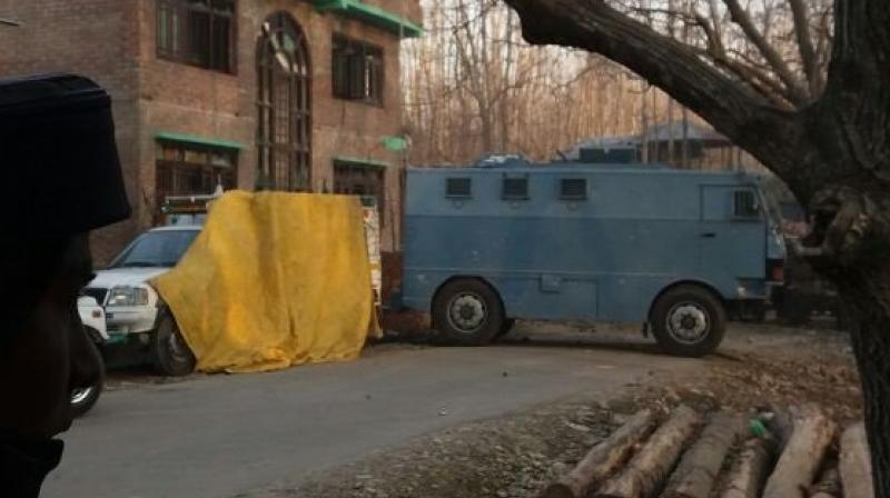 Images of the house, where the militants were reportedly holed up in J&K's Kulgam (Photo: Twitter)
