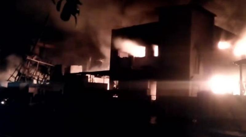 As many as 12 fire tenders were rushed to the chemical factory to douse the flames. (Photo: ANI)