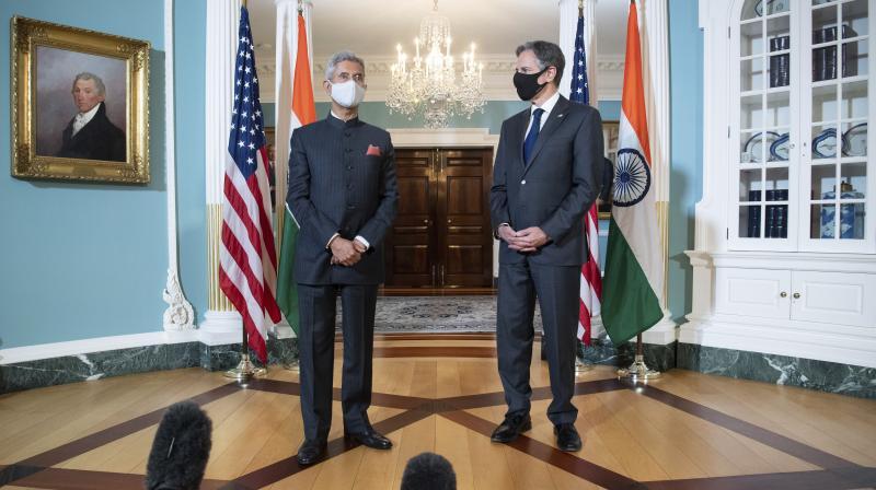US Secretary of State Antony Blinken meets with Indian External Affairs Minister Subrahmanyam Jaishankar at the State Department in Washington, on May 28, 2021. (Saul Loeb/Pool via AP)