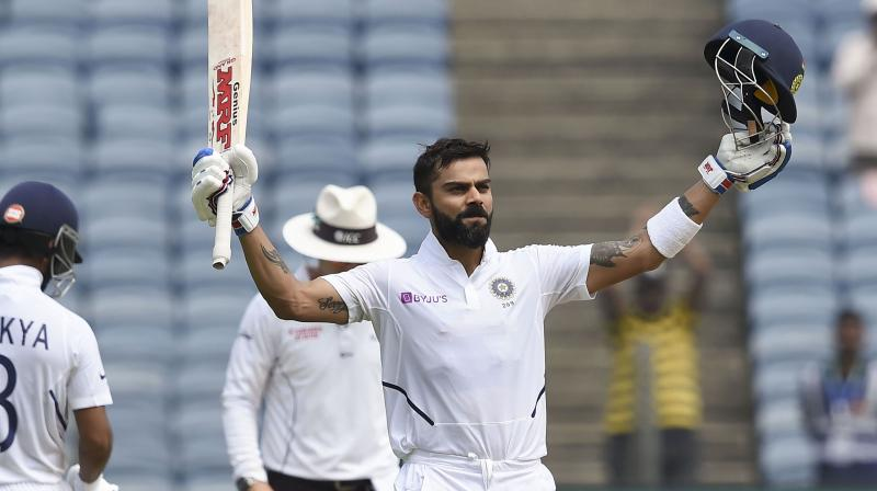 Kohli brought up his ton in the 109th over of the Indian innings. The right-handed batsman now has 26 centuries in just 81 matches. (Photo: PTI)
