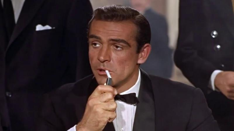 Sean Connery in the scene where he is introduced as James Bond in Dr. No.