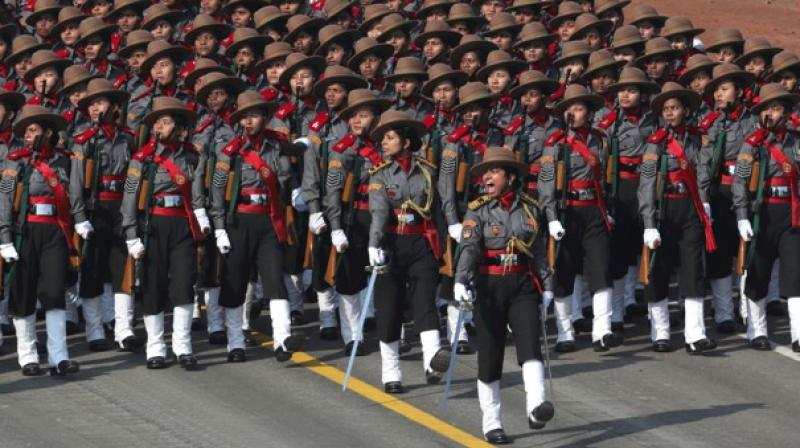 Contingents of the Navy, India Army Service Corps and a unit of Corps of Signals (transportable satellite terminal) were all led by women officers. (Photo: PTI)
