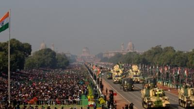 Indian army tanks and other military equipment roll past Rajpath, the ceremonial boulevard, during Republic Day parade in New Delhi. (Photo: AP)