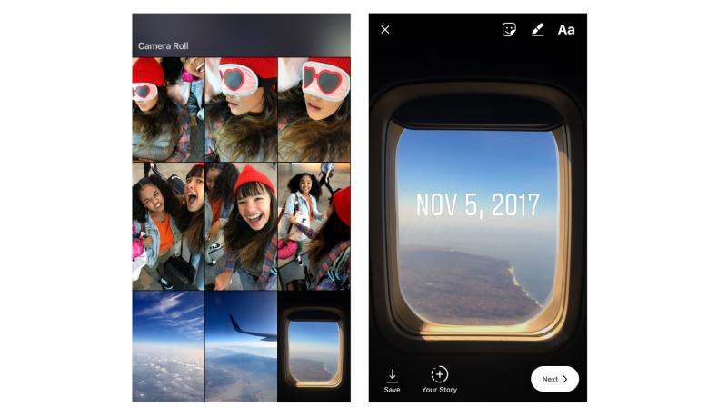 If you choose a photo or video that's more than 24 hours old on your device, then you will automatically see a new sticker that helps you add context to when it was taken. (Photo: Instagram)
