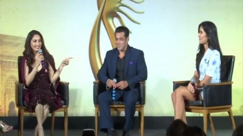 Salman Khan, Madhuri Dixit and Katrina Kaif at IIFA Press Conference. (Photo: ANI)