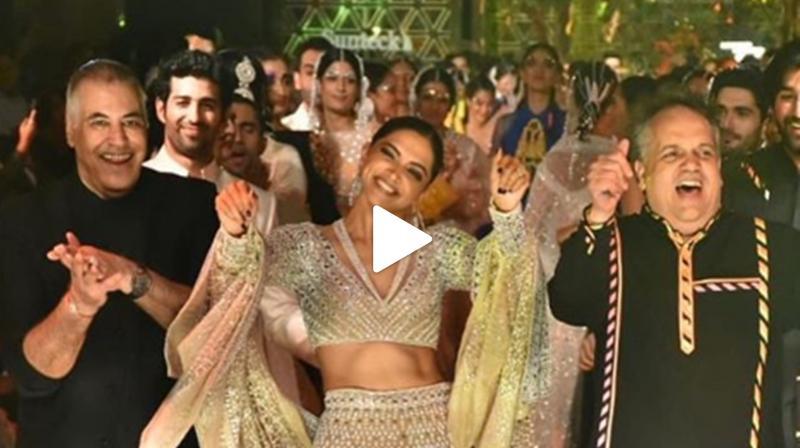 Deepika Padukone dances with Abu Jani and Sandeep Khosla. (Photo: Instagram)