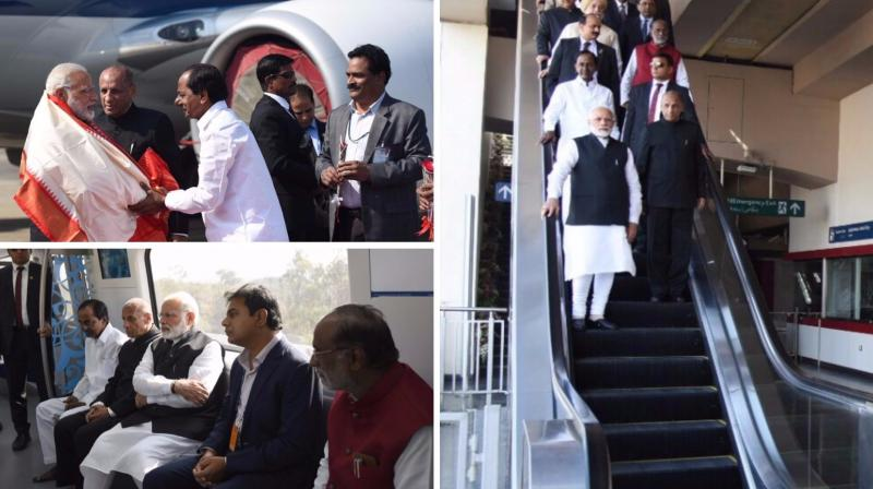 Prime Minister Narendra Modi on Tuesday afternoon inaugurated the Hyderabad Metro Rail Project, costing an estimated Rs 18,000 crore. (Photo: DC)