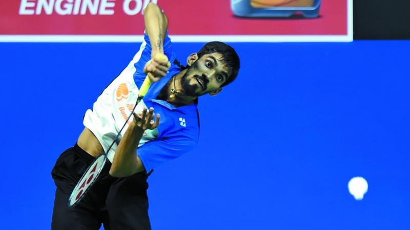 Kidambi Srikanth returns to Denmark's Anders Antonsen in their world championships second round match in Glasgow. (Photo: AFP )