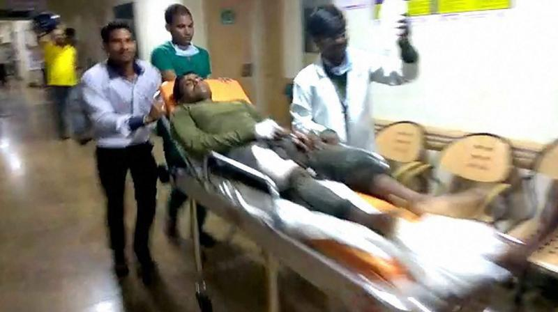 A jawan is being taken to a hospital after maoist attack in Sukma, Chhattisgarh. (Photo: File/PTI)