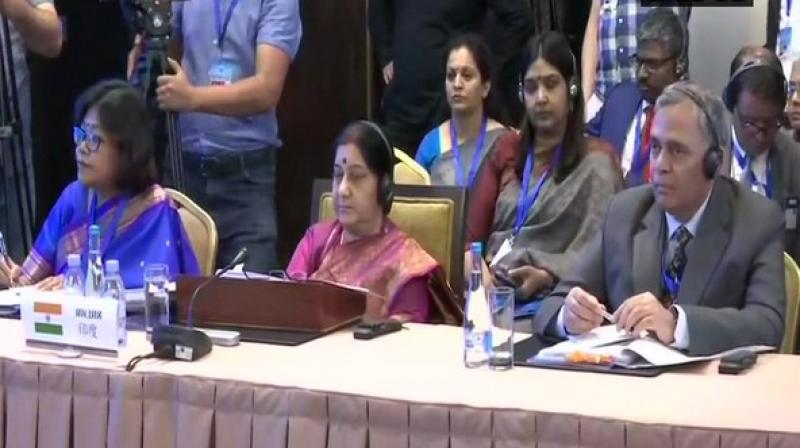 'India stands committed to any process, which can help Afghanistan emerge as a united, peaceful, secure, stable, inclusive and economically vibrant nation, with guaranteed gender and human rights,' Foreign Minister Sushma Swarag at the event. (Photo: ANI)