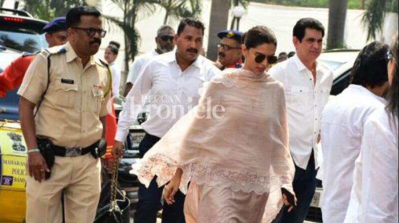 Deepika Padukone at late actress Sridevi's funeral.