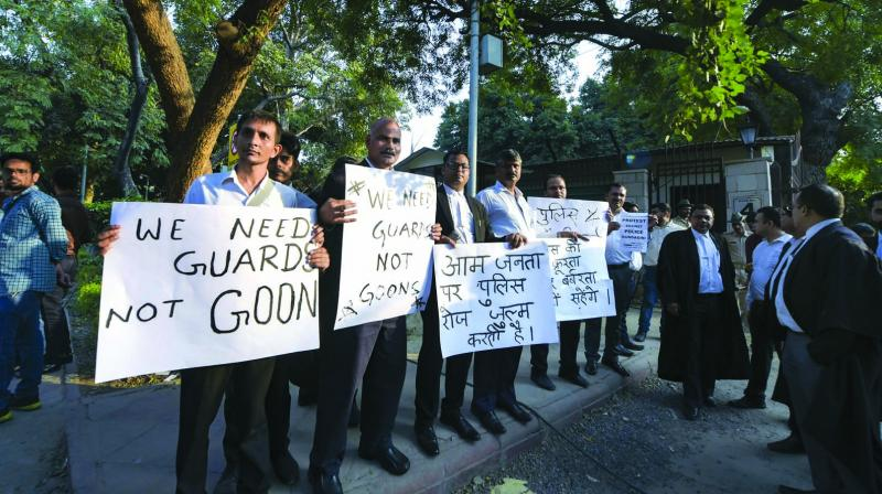 Lawyers protest against the police outside the Delhi high court on Wednesday. (Photo: PTI)