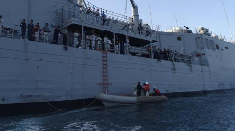 ICG rescued 2 members of Pakistan Maritime Security Agency(PMSA),recovered bodies of 4 after their boat capsized in Indian waters. (Photo: Twitter | ANI)