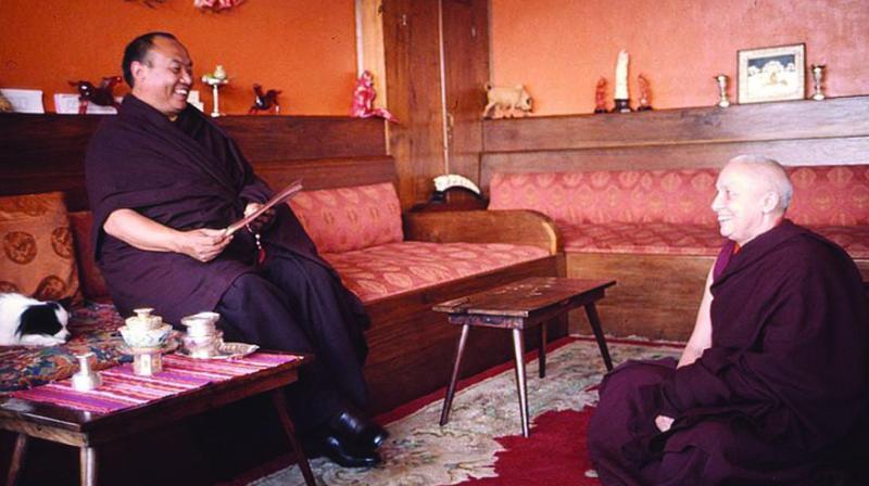 Rangjung Rigpe Dorje, the 16th Karmapa, with Gelongma Karma Kechog Palmo (aka Freda Bedi) at Rumtek Monastery, Sikkim, in 1971.