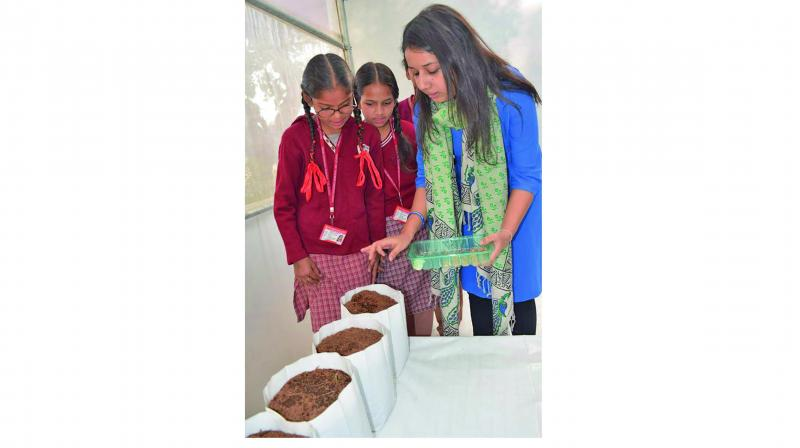 Kanika Ahuja teaching school students the importance of maintaining eco-system.