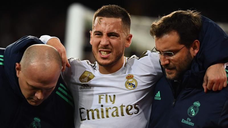 Eden Hazard underwent surgery on his lower leg and was not expected to return for Real Madrid before the end of the season. AFP Photo