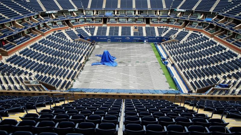 A view of the court at Arthur Ashe stadium. AFP Photo